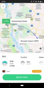 Bolt/Taxify Example to Boryspil